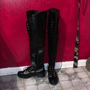 Black thigh high lace up boots - never before worn